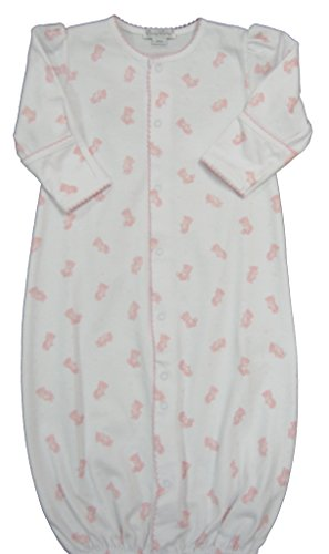 Kissy Kissy Baby-Girls Infant Tiny Teddy Print Convertible Gown-White with Pink-Small (Kissy Kissy Teddys)