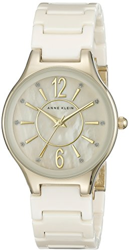 Anne Klein Women's AK/2182IVGB Glitter Accented Gold-Tone and Ivory Ceramic Bracelet Watch