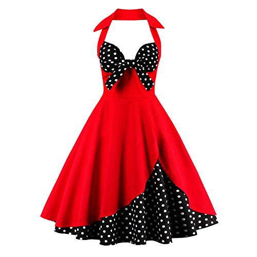 IBTOM CASTLE Women Vintage Floral Print Halter Cocktail 1950s Retro Rockabilly Swing Dresses Audrey Hepburn 50's 60's Homecoming Party Gown Red&Polka Dots Black 2XL