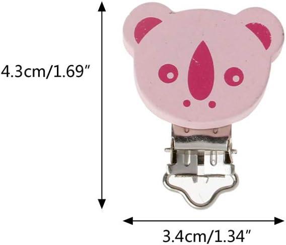 Pince Attache T/étine en Bois sans BPA Manyo 5 Pcs Attache-sucette Personnalis/ée Rose Pacifier Clip T/étine Sucettes B/éb/é- Koala