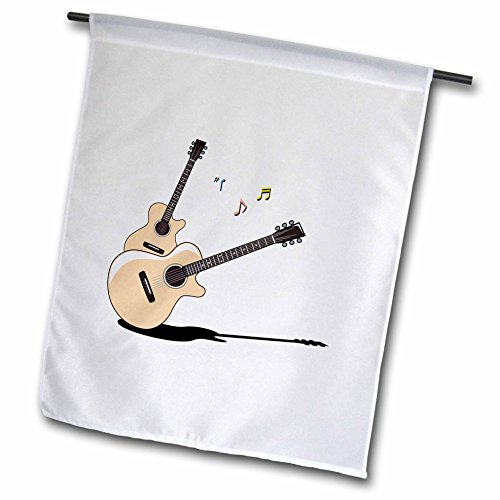 """3dRose Acoustic Guitars Two Shadow Notes - Garden Flag, 12 by 18"""""""