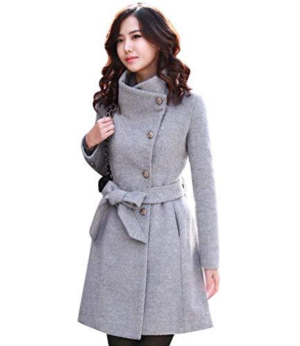 breal Longue Manteau Femme Hiver Longues De Outerwear Slim Couleur Fashion Haute Revers Unie Elgante Automne Grau Qualit Coat Manteau Fit Manches paisseur Warm De Laine XRwRq6p