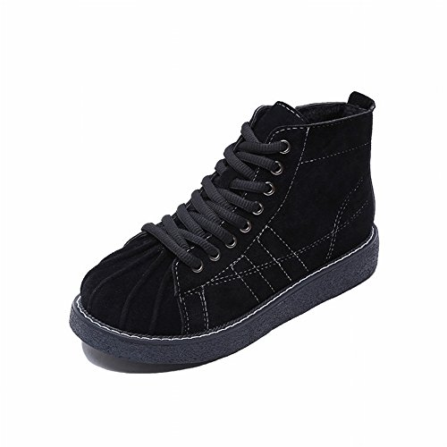 Zapatos de Concha de Plataforma Impermeable de Color Puro de Encaje con Zapatos Casuales Planas de Alto para Ayudar a Las Mujeres Zapatos , negro , EUR34.5