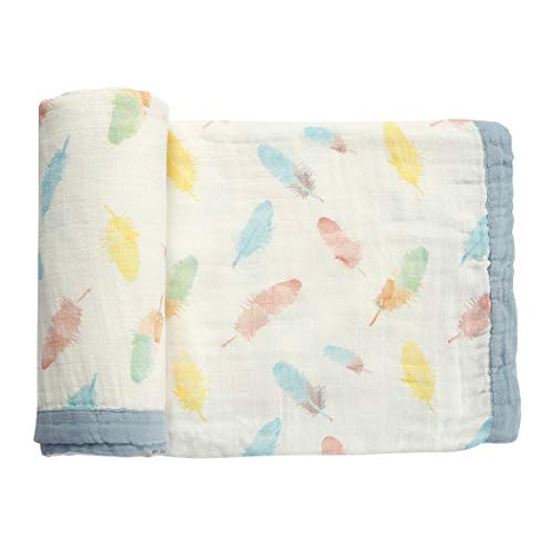 Muslin Baby Toddler Blanket- Large, Ultra-Soft Feather Blanket for Girls- Bamboo Baby Blanket-Two Layer Stroller Blanket ... (Feather)