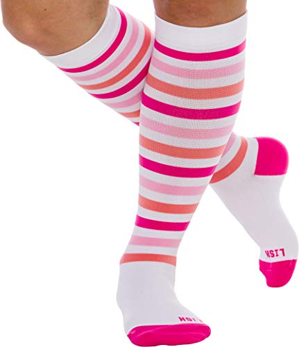 LISH Women's True Stripes Wide Calf Compression Socks - Graduated 15-25 mmHg Knee High Plus Size Support Stockings (Pink, -