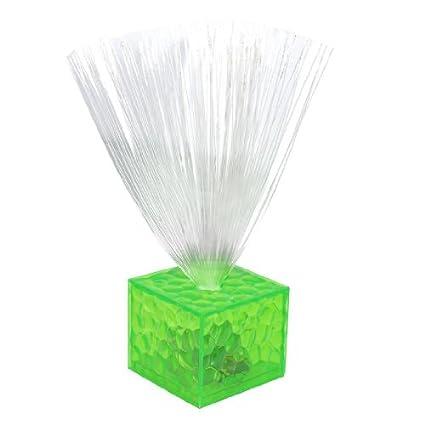 Forma Cubo de destello de la lámpara de fibra óptica Noche 6 color verde claro