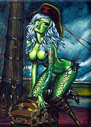 (Artist BigToe Tell No Tails Sexy Peg Leg Pirate Girl Fridge Magnet)