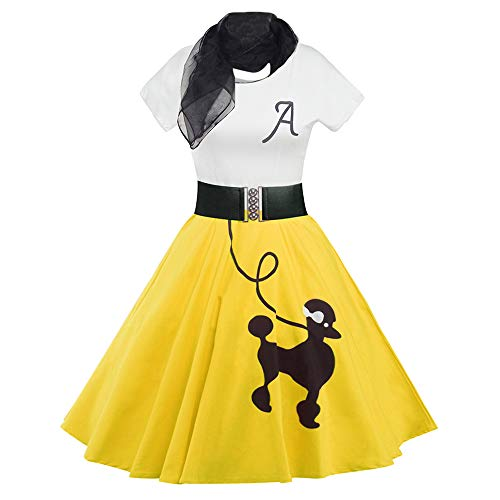DressLily Retro Poodle Print High Waist Skater Vintage Rockabilly Swing Tee Cocktail Dress (Large, Yellow) -