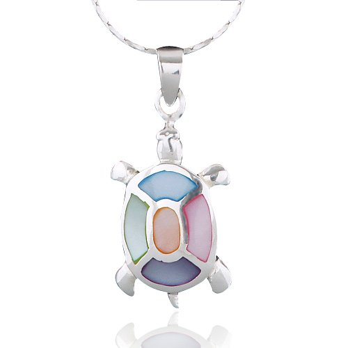 Chuvora 925 Sterling Silver Multi-Colored Mother of Pearl Shell Sea Turtle Pendant Necklace, 18 inches (Sea Turtle Pendant Pearl)
