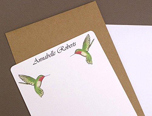 Hummingbird Duo Personalized Flat Note Card Set With Envelopes, Custom Garden Women's Stationery, Girl's Monogrammed Stationary, Complete Monogram Note Card Kit, Bird Correspondence ()