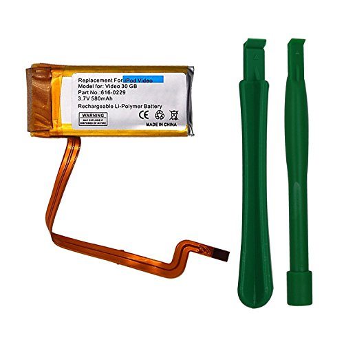 Replacement Battery for Apple iPod Video 30GB/Classic 120GB, 580mAH 3.7V Li-Polymer Rechargeable Battery with Opening Tool Kit, Compatible with Model No.616-0229 Apple Ipod Video 30gb Accessory