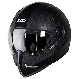 Steelbird SB-50 Adonis Zap Classic Full Face Helmet Stylish Bike Helmet (Large 600 MM, Black with Plain Visor-Designed…
