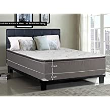 Greaton 9040v-5/0-2SFLP Fully Assembled Soft Pillow Top Innerspring Mattress and 5-inch Metal Box Spring/Foundation Set |Queen Size| Mink, Color