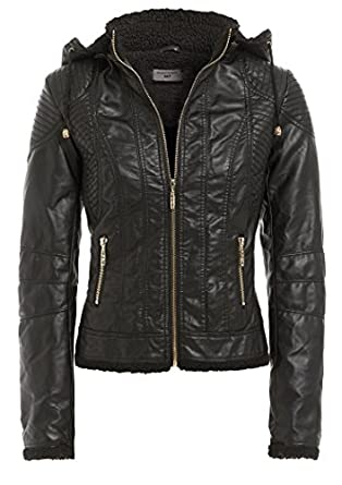 PU LADIES FAUX LEATHER HOODED PVC WOMENS BIKER JACKET COAT SIZES 8 ...