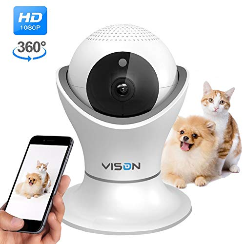 VINSION HD 1080p Pet Camera,Dog Camera 360° Pet Monitor Indoor Cat Camera with Night Vision and Two Way Audio from VINSION