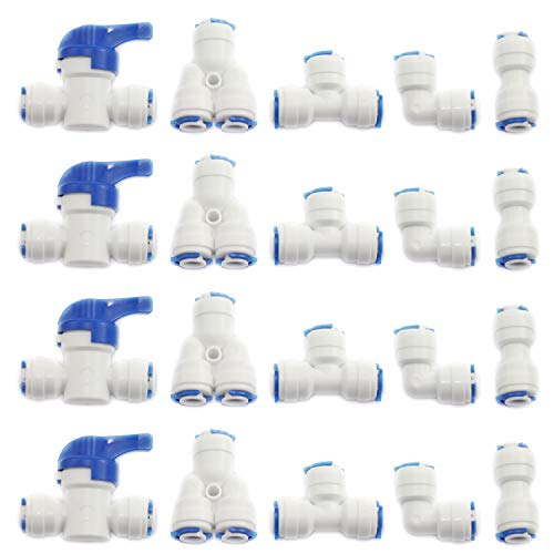 - DGZZI 1Set 20-Pack Reverse Osmosis Aquarium Quick Fittings With Locking Clips 1/4