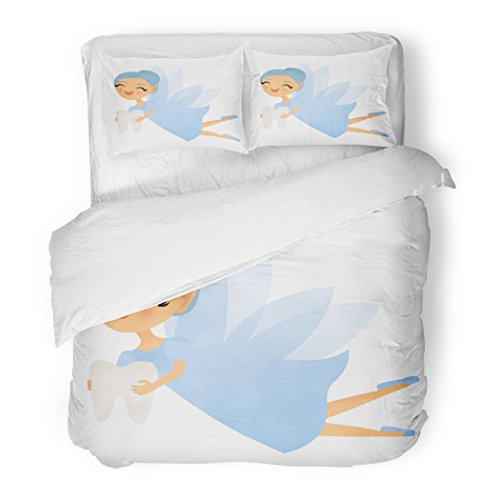 Set Cartoon Smiling Tooth Fairy Creature Cute Dental Elf Fantasy Decorative Bedding Set Pillow Sham Twin Size ()