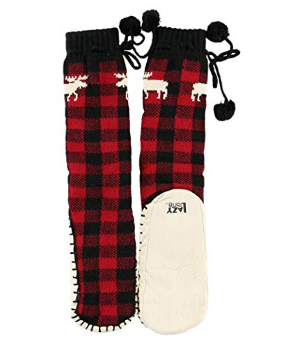 (Moose Plaid Womens Mukluk Warm Winter Bootie Sock by LazyOne | Cabin Moccasin Socks for Ladies (L/XL))