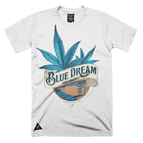 Homegrown Outfitters Men's Blue Dream t-shirt (XS, Small) 100% cotton (Small, White )