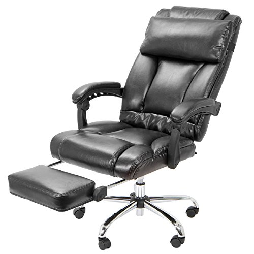 Barton High Back Office Chair with Extend Footrest Pad (Black)