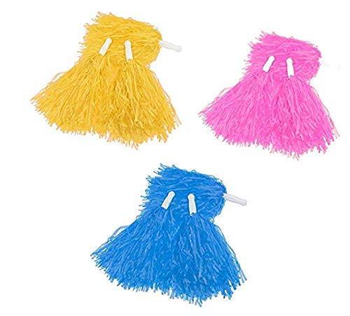 HUAFY Cheerleader Pom Poms - 14 Pack Plastic Cheerleading Pom Poms Sports Dance Cheer for Sports Team Spirit Cheering - Cheerleading Party Supplies