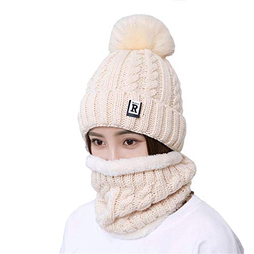 Motaierly Women's&Lady's&Girl's Beanie Winter Hat Scarf Set Slouchy Warm Snow Knit Skull Outdoors Casual Cap Beige