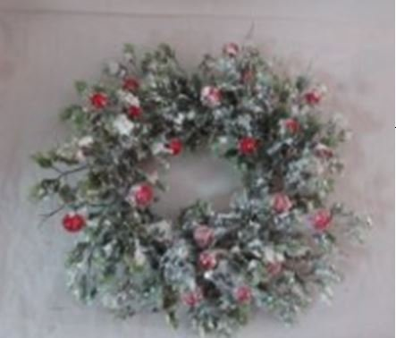 Wreath or Candle Ring with Snowy Glittered Holly Leaves and Red Berries (1) ()