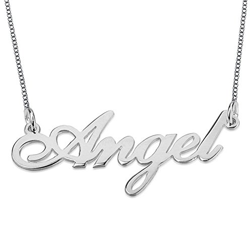 (HACOOL Fashion Personalized Pendant Name 18K Gold Plated Necklace with Make Any Name (platinum-silver plated ))