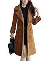 Tanming Women's Winter Sherpa Lined Faux Suede Leather Coat Outerwear (X-Large, Brown)