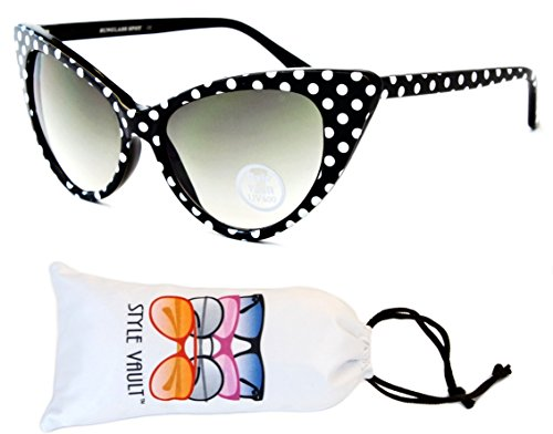 Wm528-vp Style Vault Unique Cateye polka dots Sunglasses (S3236V Black/White Dots, - 1950s Sunglasses