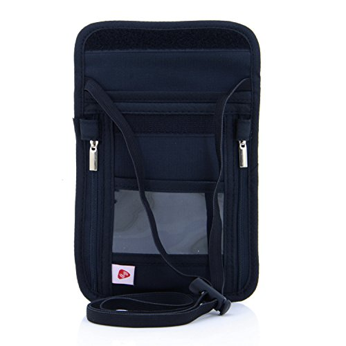 Travel Bag Neck String Passport Card Tickets Bag Pouch (Black) - 1