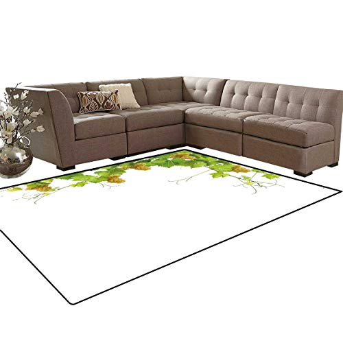 Vineyard Bath Mats Carpet Collage of Wine Leaves on Bunch Farming Natural Rural Tasty Food Berry Image Girls Rooms Kids Rooms Nursery Decor Mats 5'x8' Green ()