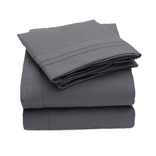 Sweet Home Collection 3 Piece 2000 12 Colors Collection Egyptian Quality Deep Pocket Bed Sheet Set, Twin, Gray