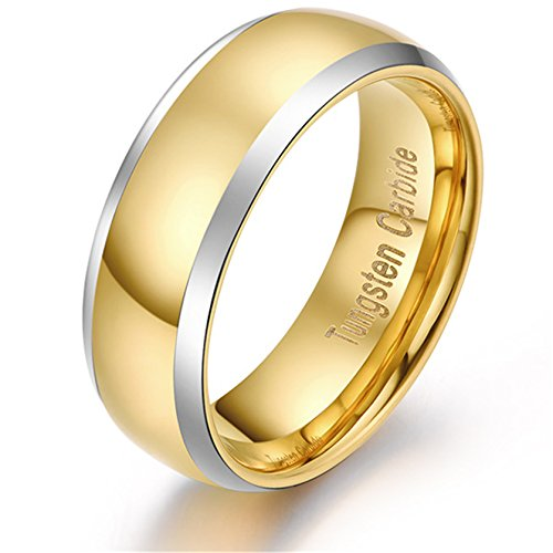 8mm Womens and Mens Tungsten Wedding Band Ring Comfort Fit with 18K Yellow Gold Plated Domed Polished Two Toned