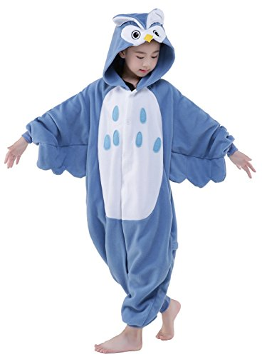 9-10 Year Old Halloween Costumes (Owl Children Halloween Costume OnePiece Pajamas Anime Carnival Outfit(XL fits height 55-59