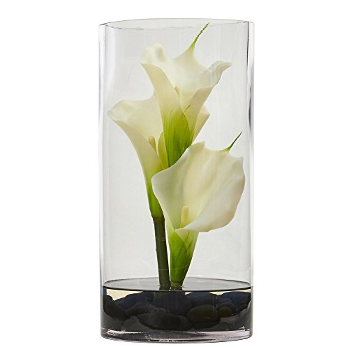 "- Nearly Natural 12"" Calla Lily Artificial Arrangement in Cylinder Glass Vase"