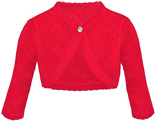 (Lilax Baby Girls' Knit Long Sleeve One Button Closure Bolero Shrug 9-12 Months Red)