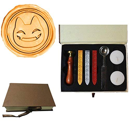 (Vintage Funny Cat Face Halloween Wedding Invitation Custom Picture Wax Seal Sealing Stamp Sticks Spoon Gift Box Set)