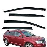 Fit for 2008-2019 Dodge Journey Window Visors Smoke Tint Sun/Moon Rain Guards 4Piece WV94072 Lightronic