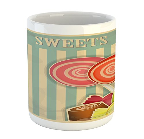 Lunarable Vintage Mug, Retro Old Candy Store Chocolates Loll