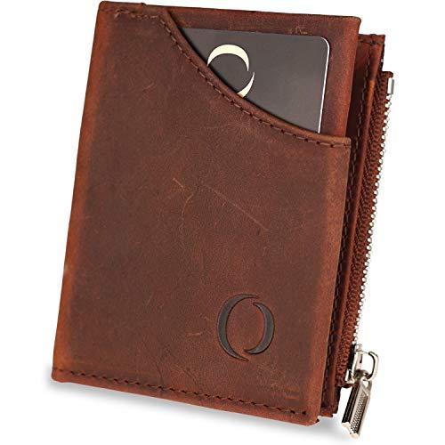 🥇 Cartera pequeña con Monedero para Hombre – Billetera de Piel con Tarjetero RFID y Monedero con Cremallera