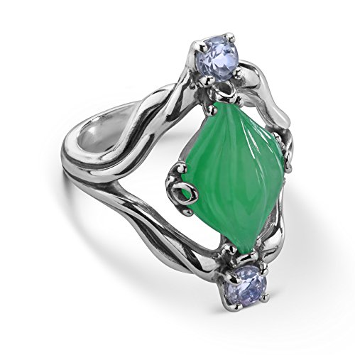 (Carolyn Pollack Sterling Silver Green Jade Gemstone Carved Ring Size 9)