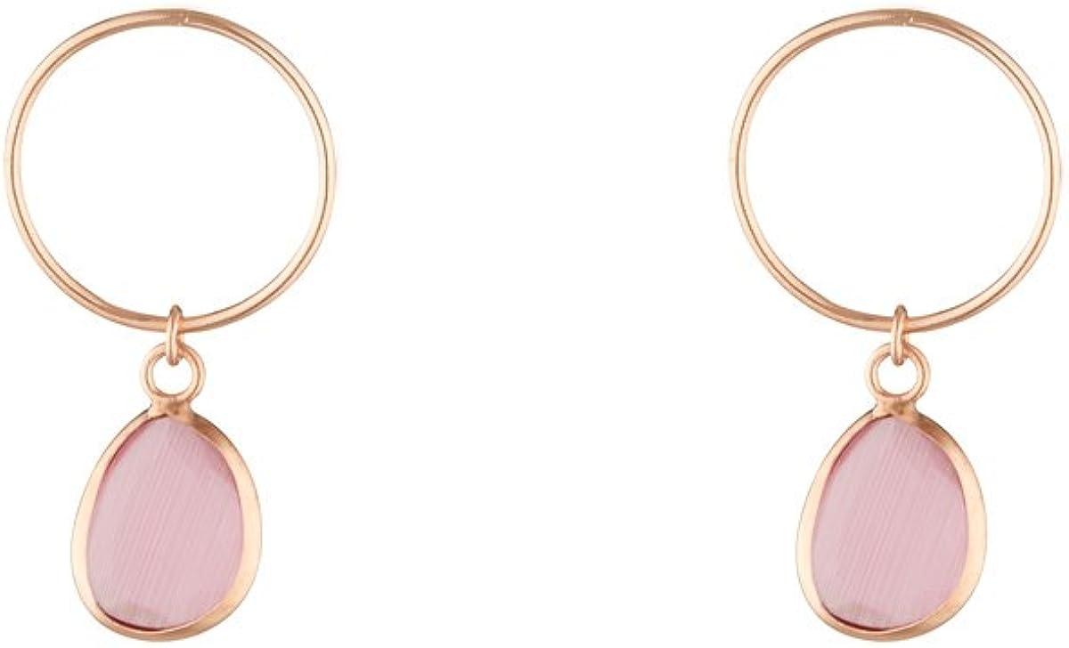 Córdoba jewels   Pendientes en plata de ley 925 bañada en oro rosa con piedra semipreciosa con diseño Circle Kiut Rosa Palo Oro Rosa