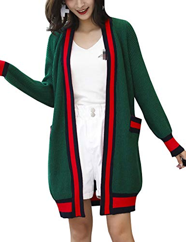 D.B.M Women's Casual Loose Contrast Stripe Long Sleeve Pocket Knit Cardigan (One Size, Green) from D.B.M