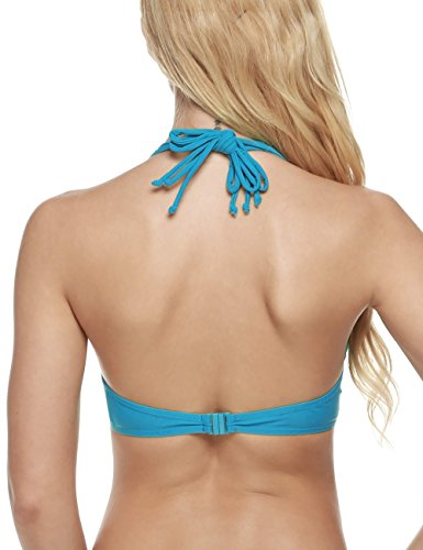 Coorun Mujer Bañador Bikini Deportivo Halter push up Sujetador Rellenado con aro Azul