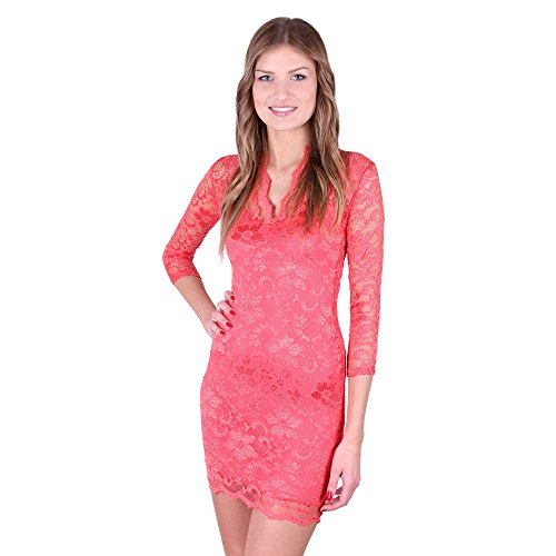 John Zack - Robe - Cocktail - Manches 3/4 - Femme rouge Red