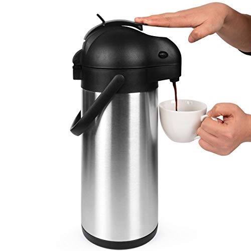 - 101 Oz (3L) Airpot Thermal Coffee Carafe/Lever Action/Stainless Steel Insulated Thermos / 12 Hour Heat Retention / 24 Hour Cold Retention (Renewed)