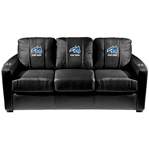 XZipit College Silver Sofa with Stony Brook Wolfie Logo Panel, Black