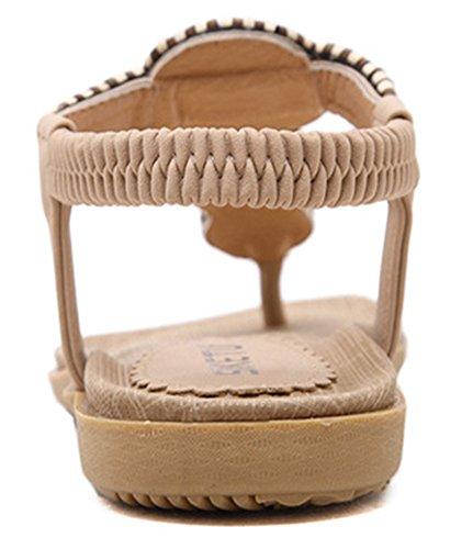 Apricot resistant Flip Flops Sandals Womens Beaded Bohemia Fashion Flat Elastic Slip Beach Easemax w7zXZqq