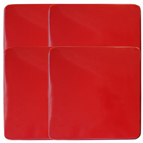 Reston Lloyd  Square Gas Stove Burner Cover Set, Set of 4, Red